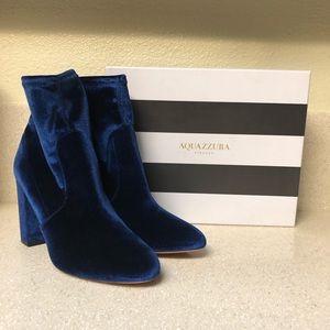 Aquazzura Velvet Ankle Bootie Blue Sz 40 / 10
